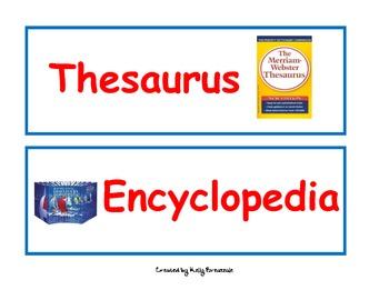 Atlas, Thesaurus, Dictionary, Encyclopedia Sorting Cards