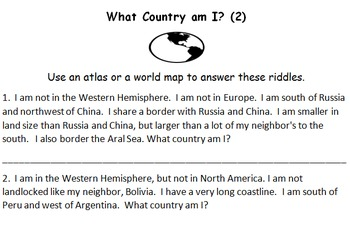Atlas and Map Riddles:  What Country Am I?  Part 2