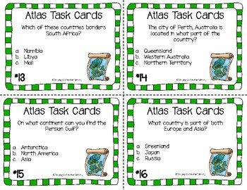 Atlas and Map Skills Task Cards