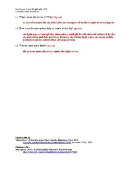 Atmosphere Article (Reading Level 2) Comprehension Worksheet