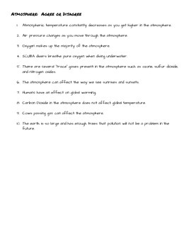Atmosphere Atmospheric Agree or Disagree Facts Discussion Starter Question Stems