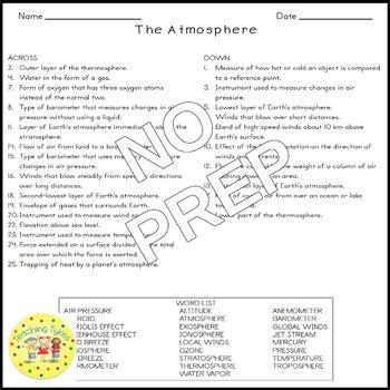 Atmosphere Earth Science Crossword Coloring Puzzle Worksheet Middle School