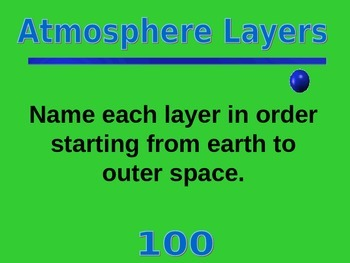 Atmosphere Jeopardy Game