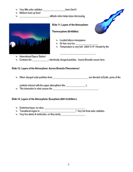 Atmosphere Layers Basics Guided Notes