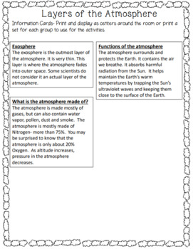 Atmosphere Lesson, Activity and Matching Game