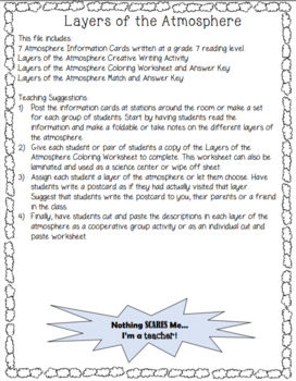 Layers of the Atmosphere Writing, Matching and Coloring Lesson Bundle