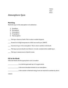 Atmosphere Quiz
