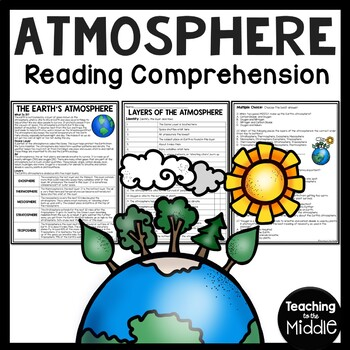 Atmosphere Reading Comprehension Worksheet, Layers, Earth Science