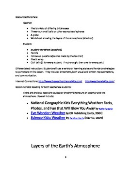"""Atmosphere: """"The Earth's Blanket"""" (N.G.S.S./Common Core Lesson Plan)"""