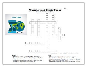 Atmosphere and Climate Change Vocabulary Puzzle