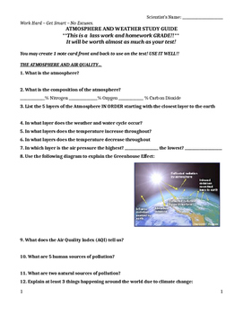 Atmosphere and Weather Test Review Guide