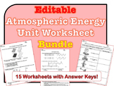 Atmospheric Energy Worksheets *Editable Bundle*
