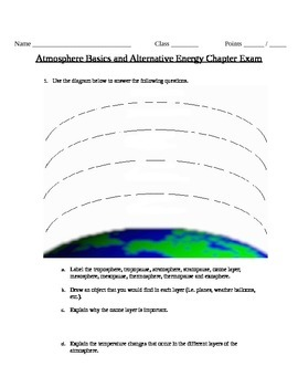 Atmospheric Layers and Alternative Energies Exam