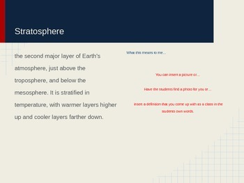 Atmospheric composition and layering vocabulary presentation