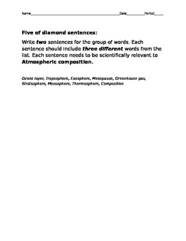 Atmospheric composition and layering vocabulary test with key