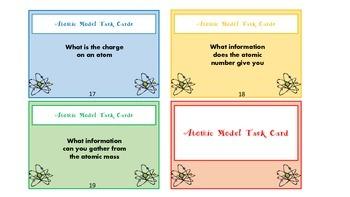 Atom & Atomic Model Task Cards