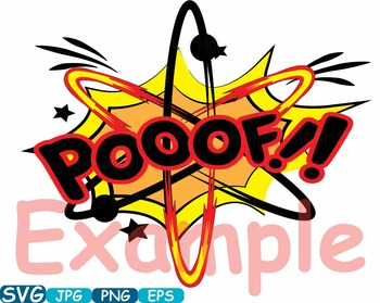 Atom Comic Text Props Super hero science clip art Pop Art baby shower svg -357s
