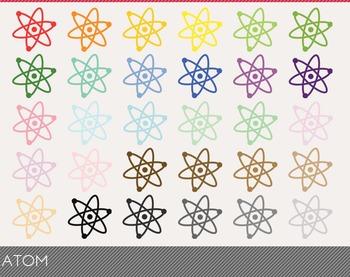 Atom Digital Clipart, Atom Graphics, Atom PNG, Rainbow Atom Digital Files