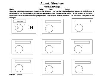 Atom Drawing Worksheet by Geodweller Science | Teachers Pay Teachers