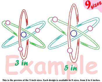 Atom Science - Designs for Embroidery sign Nuclear Fission outline 190b