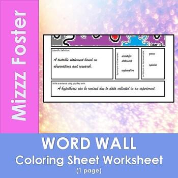 Atom Word Wall Coloring Sheet
