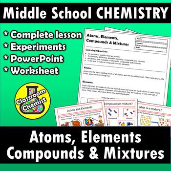 Atoms, elements, compounds & mixtures - worksheet, PPT & lab | TpT