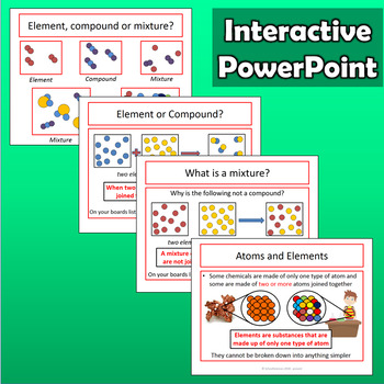 Atoms, elements, compounds & mixtures - worksheet, PPT & lab | TpT