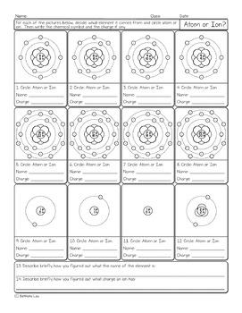 Atom or Ion Chemistry Homework Worksheet
