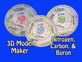 Atomic 3D Model Trio - Nitrogen, Carbon, & Boron
