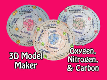 Atomic 3D Model Trio - Oxygen, Nitrogen, & Carbon