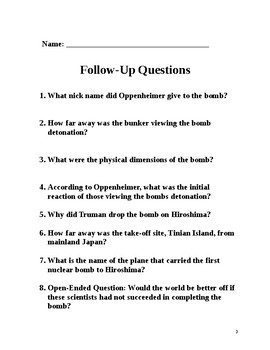 Atomic Bomb: 2 Page Literacy w Follow-up Questions