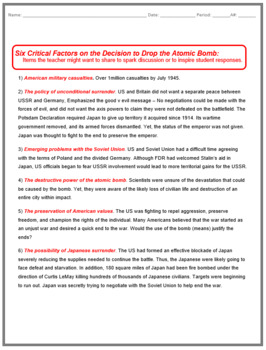 Atomic Bomb Discussion Based In Class Activity