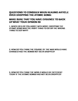 Atomic Bomb Socratic Circle Questions