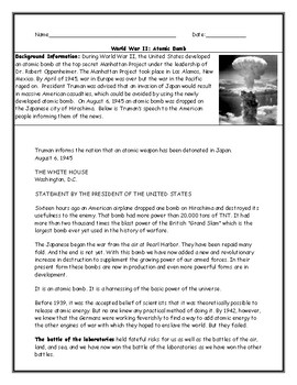 Atomic Bomb Worksheet with Answer Key