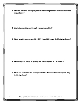 Atomic Bombing of Japan - Manhattan Project - Webquest with Key (World War Two)