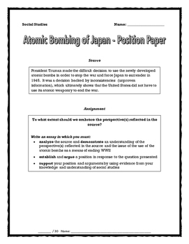Atomic Bombing Of Japan   Position Paper (Essay) And Rubric (World War Two)  WWII