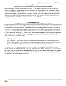 Atomic Bombs Lesson & Worksheet