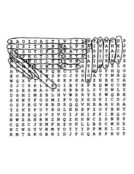 Atomic Energy Wordsearch Puzzle with Key