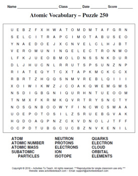 Atomic ID & Vocab Puzzles - Bundle of Word Searches, Crosswords, & Decoders