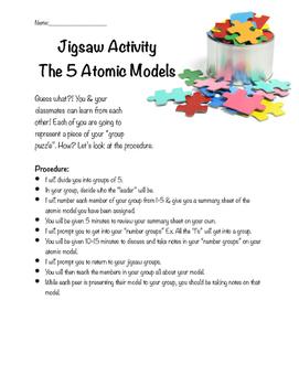 Atomic Model Chemistry Jigsaw Activity