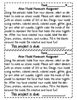 Atomic Model Homework Art Activity
