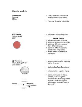 Atomic Models Cornell Notes (pdf)
