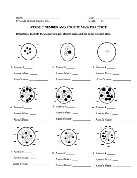 Atomic Number and Atomic Mass Practice