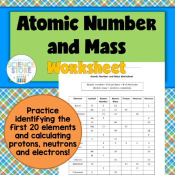 Atomic Number and Mass Worksheet