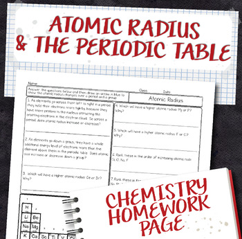 Atomic Radius Periodic Table Trend Chemistry Homework Worksheet