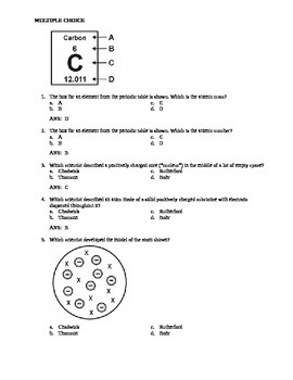 Atomic Structure 28 multiple choice questions
