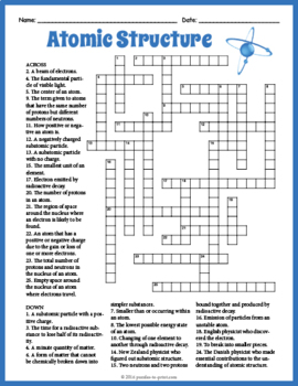 Atomic Structure Crossword Puzzle by Puzzles to Print | TpT