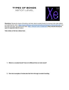 Atomic Structure & Ionic Bonding Leveled Practice with Extension