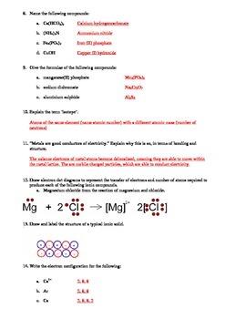 Atomic Structure, Metallic and Ionic Bonding (Quick quiz)