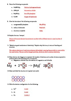 Atomic Structure, Metallic and Ionic Bonding (Quick quiz)